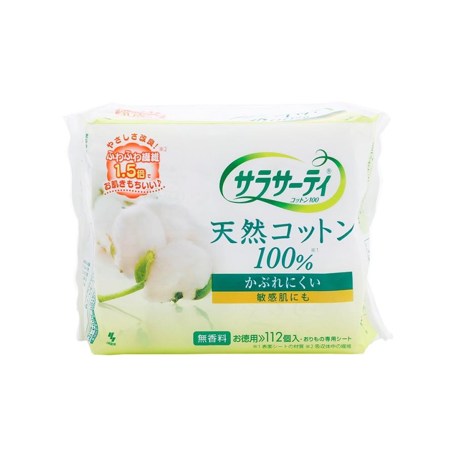 KOBAYASHI 小林制药 Sarasaty纯棉透气护垫 无香型 112片
