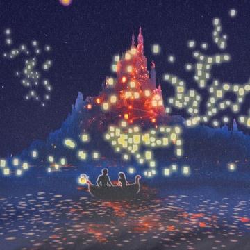 w.p.c 迪士尼魔发奇缘主题晴雨两用折叠伞 Fantasy Night 50cm 1把