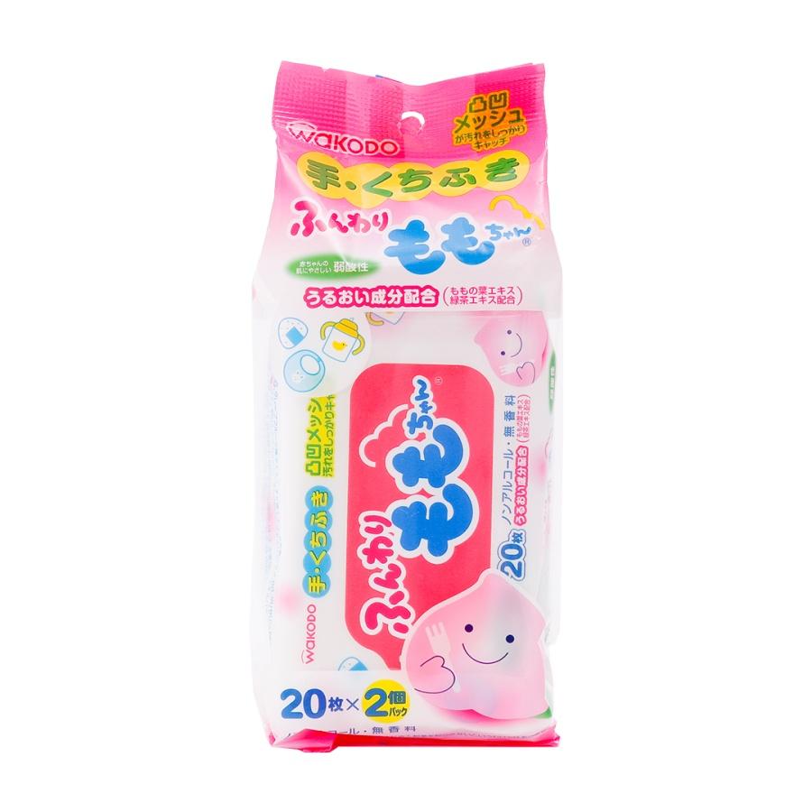 WAKODO 和光堂 桃子先生便携除菌手口专用湿巾 40片(20片×2包)