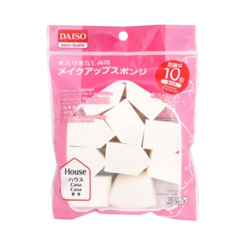 DAISO 大创 干湿两用三角化妆海棉粉扑 10个