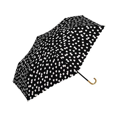 w.p.c 小爱心晴雨两用三折伞 963-017 黑色 50cm 1把